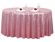 Sequin Round Tablecloth Pink