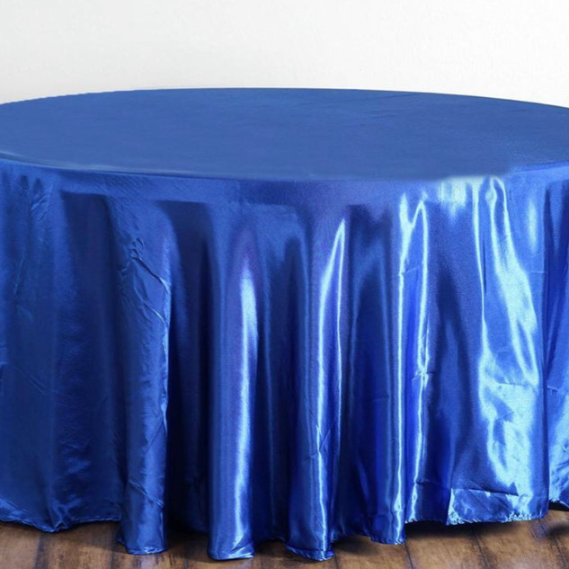 Satin Round Tablecloth Royal Blue