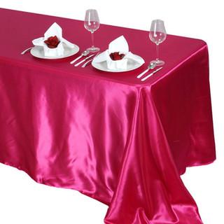 Satin Rectangle Tablecloth Fuchsia