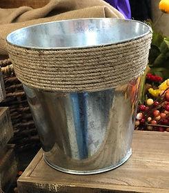 Galvanized Round Bucket with Jute Detail