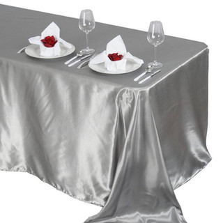 Satin Rectangle Tablecloth Silver