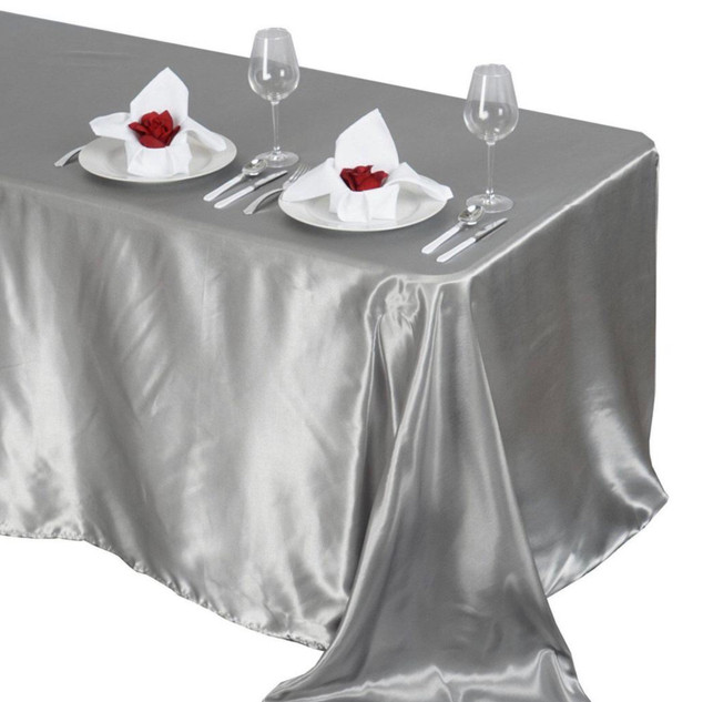 Satin Rectangle Tablecloth Silver