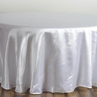 Satin Round Tablecloth White