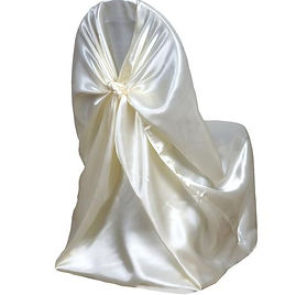 Universal Satin Chair Cover Ivory.