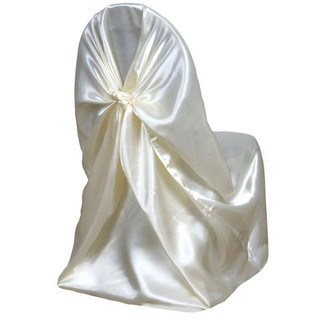 Universal Satin Chair Cover Ivory