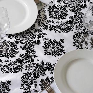 Damask Taffeta Runner Flocking White & Black