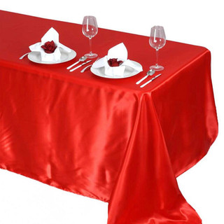 Satin Rectangle Tablecloth Red