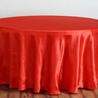 Satin Round Tablecloth Red