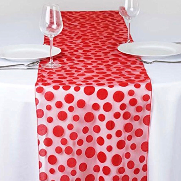 Groovy Dots Organza Runner  Red