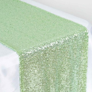 Sequin Table Runner  Tea Green
