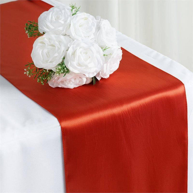 Satin Table Runner  Burnt Orange