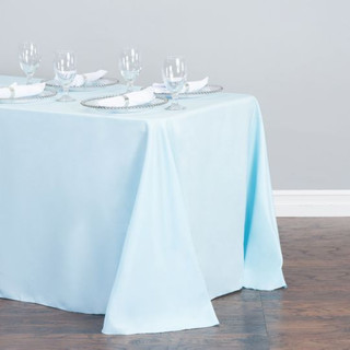 90x156 inch Polyester  Tablecloth Light Blue