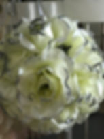 Flower Kissing Ball Pale Yellow & Silver