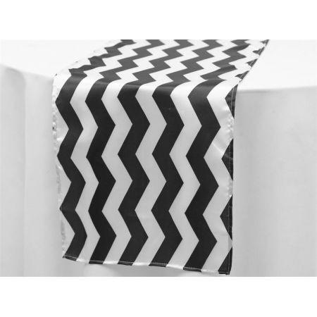Chevron Satin Runner Black & White