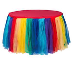 Rainbow Tulle Table Skirt 14' Primary Co