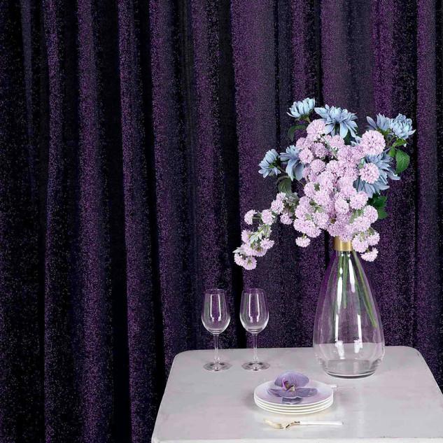 10 x 20' Metallic Backdrop Curtain Purpl