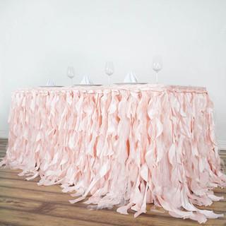 Enchanting Willow Taffeta Table Skirt Pale Blush