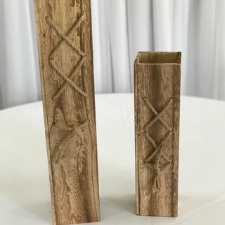 Rustic Wood Vase Set