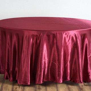 Satin Round Tablecloth Burgundy