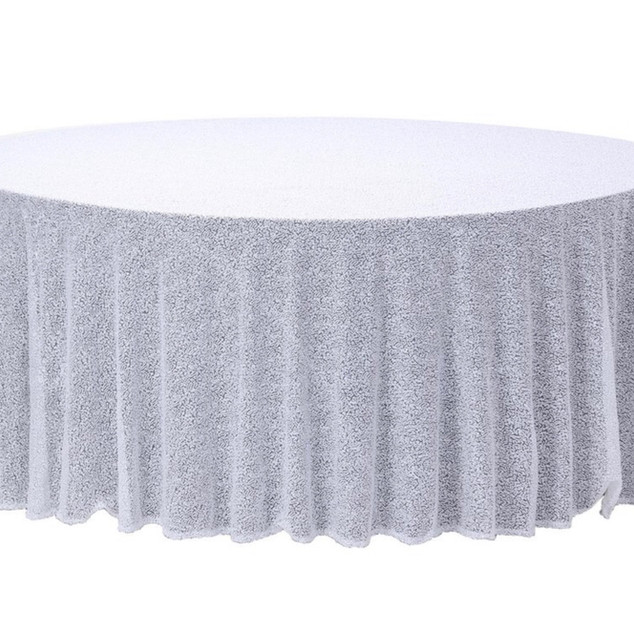 Sequin Round Tablecloth White