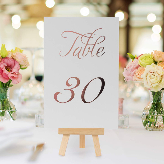 Table Number Set 1-30 Rose Gold