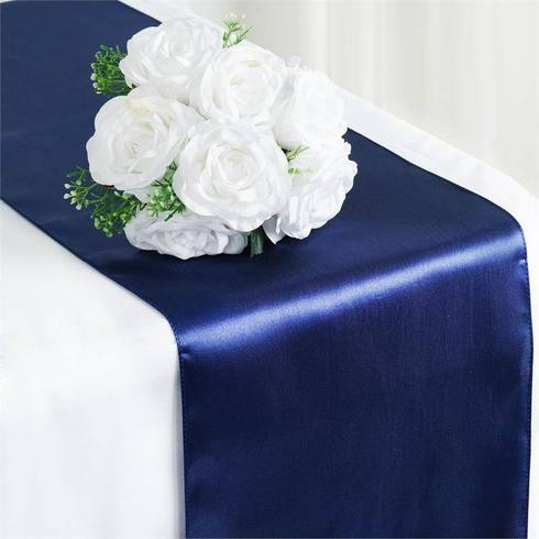 Satin Table Runner  Navy