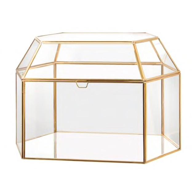 Geometric Glass Card Box Gold