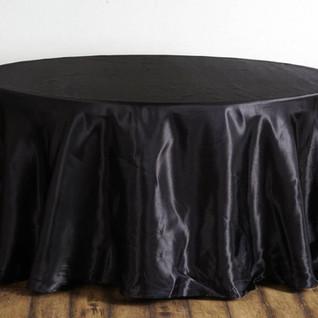 Satin Round Tablecloth Black