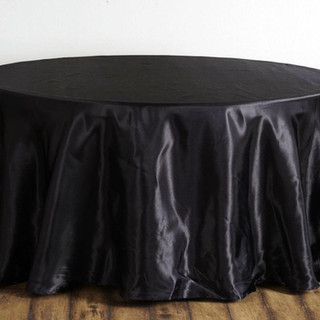Satin Round Tablecloth Black