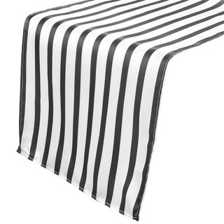 Striped Satin Runner Black & White