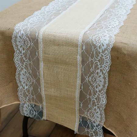 Natural Burlap and Lace Runner