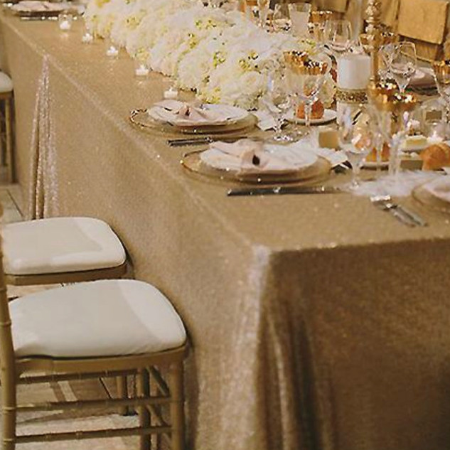 Sequin Rectangle Tablecloth Champagne