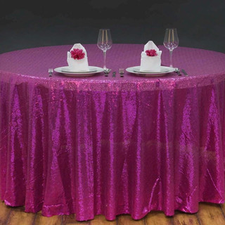 Sequin Round Tablecloth Fuchsia