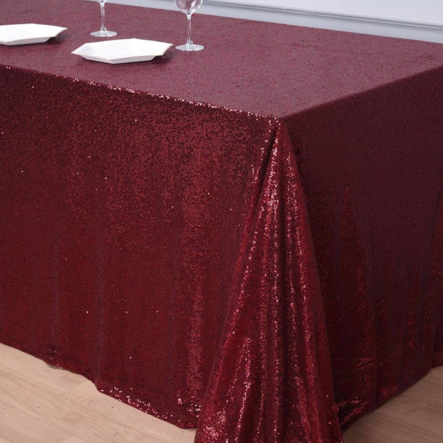 Sequin Rectangle Tablecloth Burgundy