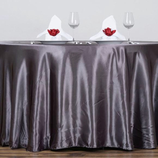 Satin Round Tablecloth Charcoal