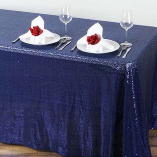 Sequin Rectangle Tablecloth Navy