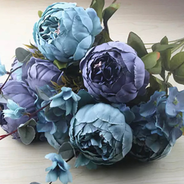 Peony Bunch Antique Blue