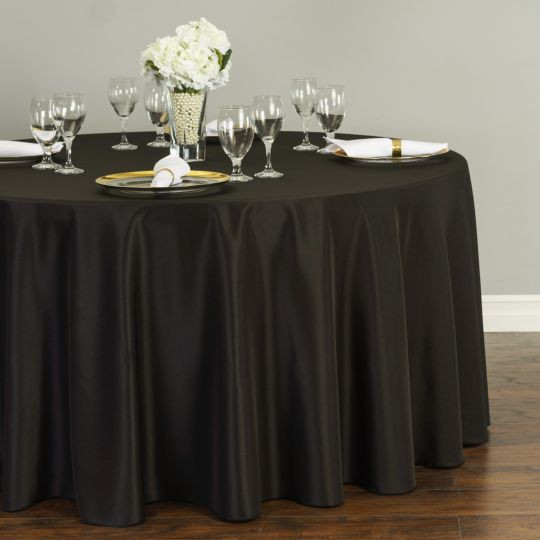 Polyester Round Tablecloth Black