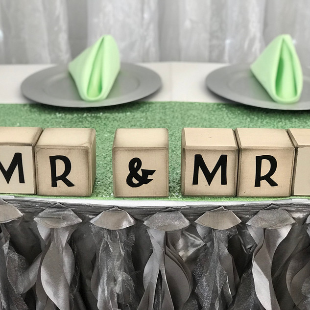 Rustic Wooden Blocks Mr. & Mrs. Accent