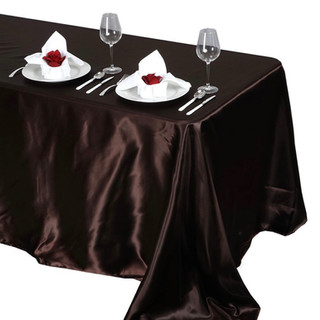 Satin Rectangle Tablecloth Chocolate