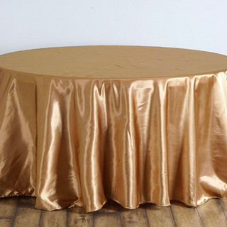 Satin Round Tablecloth Gold