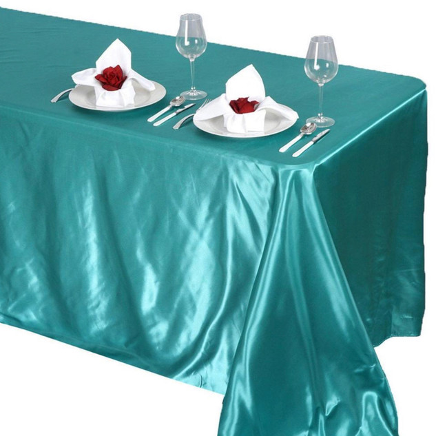 Satin Rectangle Tablecloth Turquoise
