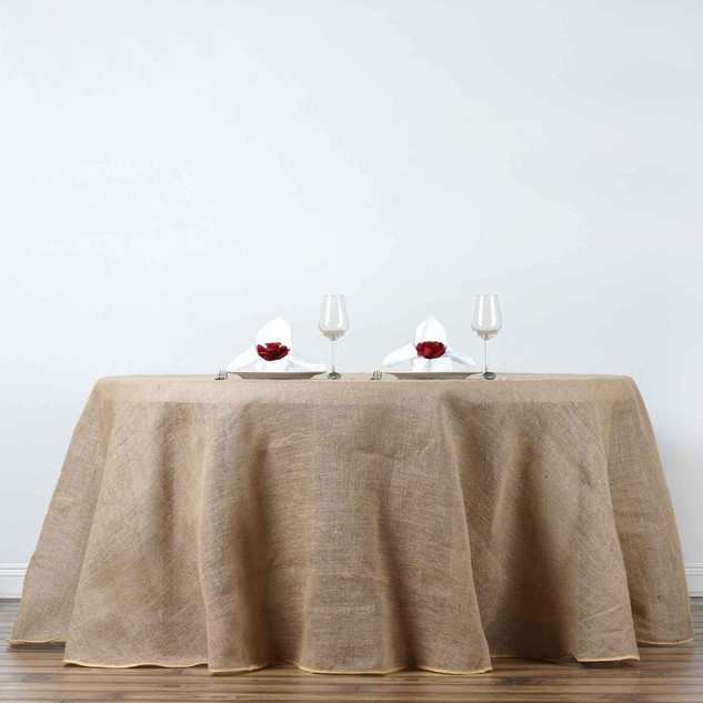 120inch Rustic Burlap Round Tablecloth