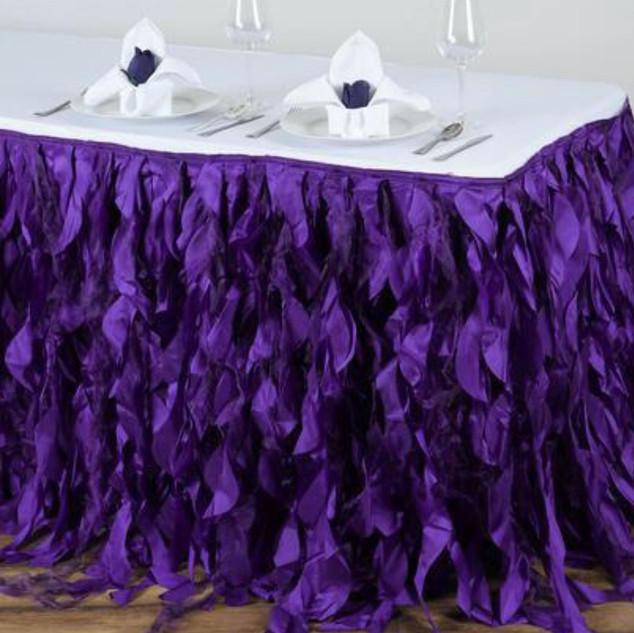 Enchanting Willow Taffeta Table Skirt Purple
