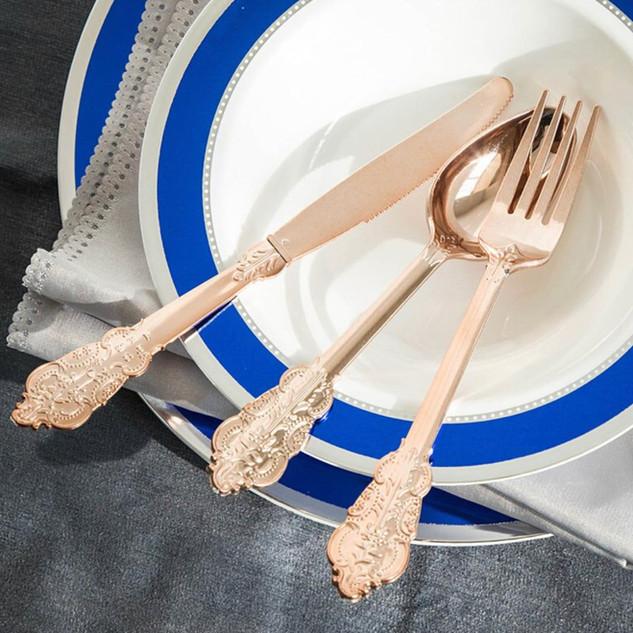 Disposable Baroque Cutlery 72pk Rose Gold