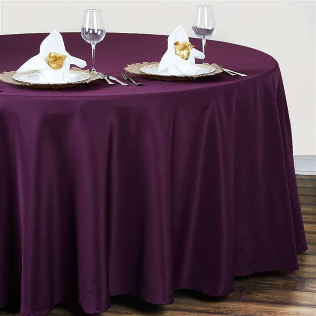 Polyester Round Tablecloth Eggplant