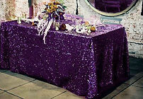 Sequin Rectangle Tablecloth Purple