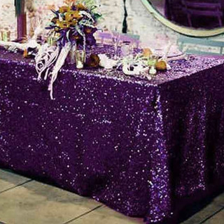 Sequin Rectangle Tablecloth Purple