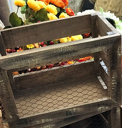 Natural Wood Crate with Chicken Wire Det