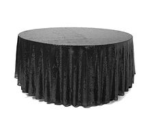 Sequin Round Tablecloth Black